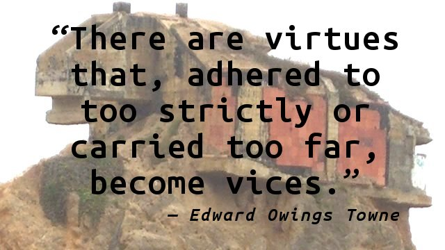 There are virtues that, adhered to too strictly or carried too far, become vices.