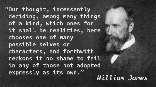 Our thought, incessantly deciding, among many things of a kind, which ones for it shall be realities, here chooses one of many possible selves or characters, and forthwith reckons it no shame to fail in any of those not adopted expressly as its own.