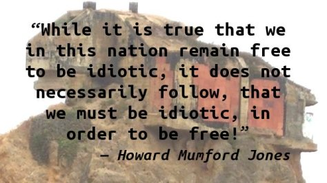 While it is true that we in this nation remain free to be idiotic, it does not necessarily follow, that we must be idiotic, in order to be free.