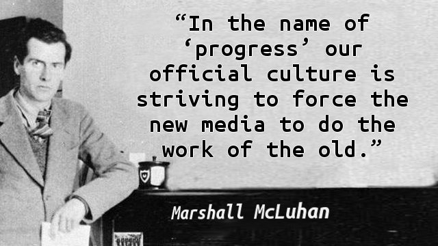 In the name of 'progress' our official culture is striving to force the new media to do the work of the old.