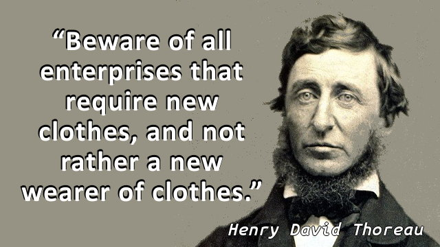 Beware of all enterprises that require new clothes, and not rather a new wearer of clothes.