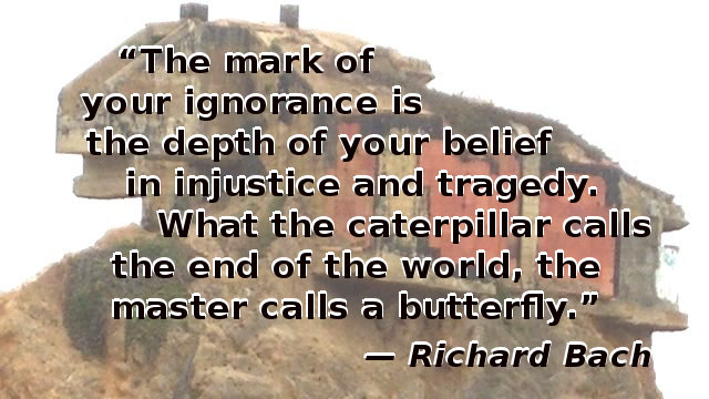 The mark of your ignorance is the depth of your belief in injustice and tragedy. What the caterpillar calls the end of the world, the master calls a butterfly.