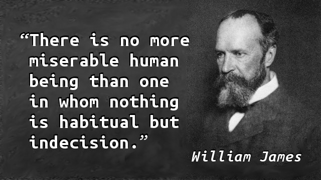 There is no more miserable human being than one in whom nothing is habitual but indecision.
