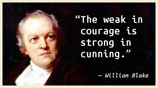 The weak in courage is strong in cunning.