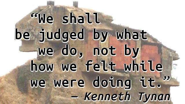 We shall be judged by what we do, not by how we felt while we were doing it.