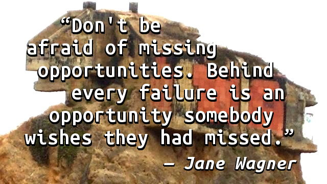 Don't be afraid of missing opportunities. Behind every failure is an opportunity somebody wishes they had missed.