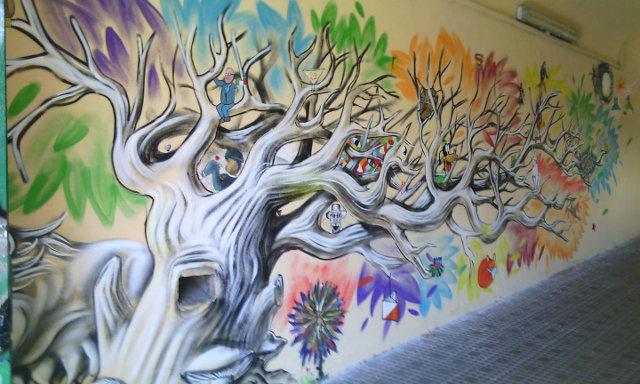 Street art, Liceo Scientifico Statale C. Cavour, via delle Carine n.1, Rome