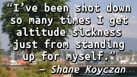 I've been shot down so many times I get altitude sickness just from standing up for myself.