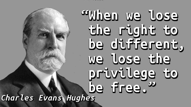 When we lose the right to be different, we lose the privilege to be free.