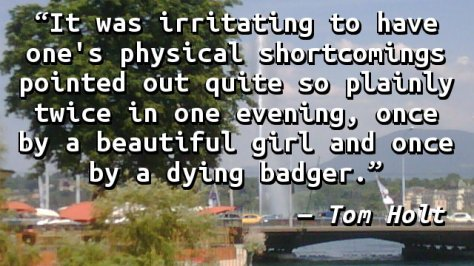 It was irritating to have one's physical shortcomings pointed out quite so plainly twice in one evening, once by a beautiful girl and once by a dying badger.