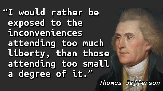 I would rather be exposed to the inconveniences attending too much liberty, than those attending too small a degree of it.