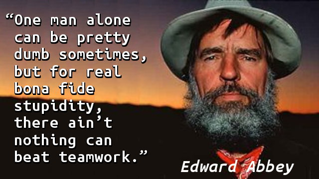 One man alone can be pretty dumb sometimes, but for real bona fide stupidity, there ain't nothing can beat teamwork.