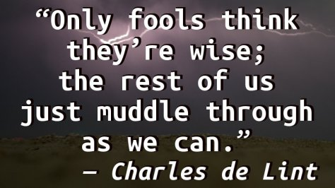 Only fools think they're wise; the rest of us just muddle through as we can.