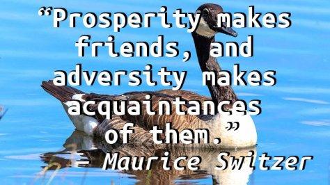 Prosperity makes friends, and adversity makes acquaintances of them.