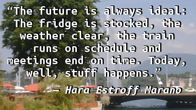 The future is always ideal: The fridge is stocked, the weather clear, the train runs on schedule and meetings end on time. Today, well, stuff happens.