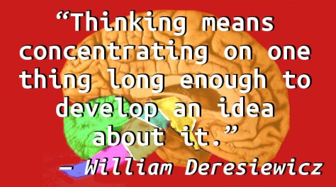 Thinking means concentrating on one thing long enough to develop an idea about it.