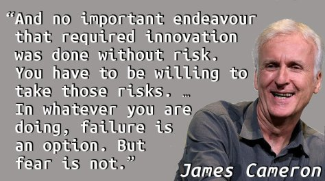And no important endeavour that required innovation was done without risk. You have to be willing to take those risks. … In whatever you are doing, failure is an option. But fear is not.
