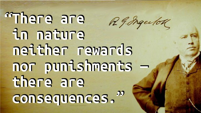 There are in nature neither rewards nor punishments — there are consequences.