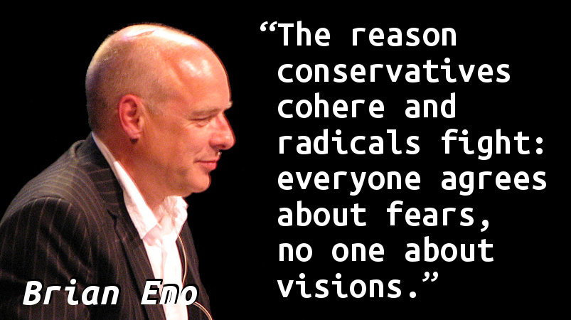 The reason conservatives cohere and radicals fight: everyone agrees about fears, no one about visions.