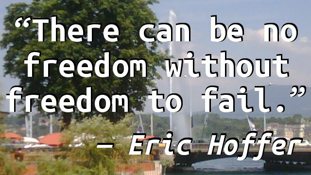 There can be no freedom without freedom to fail.