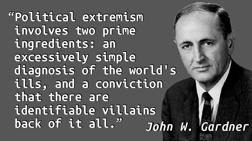 Political extremism involves two prime ingredients: an excessively simple diagnosis of the world's ills, and a conviction that there are identifiable villains back of it all.