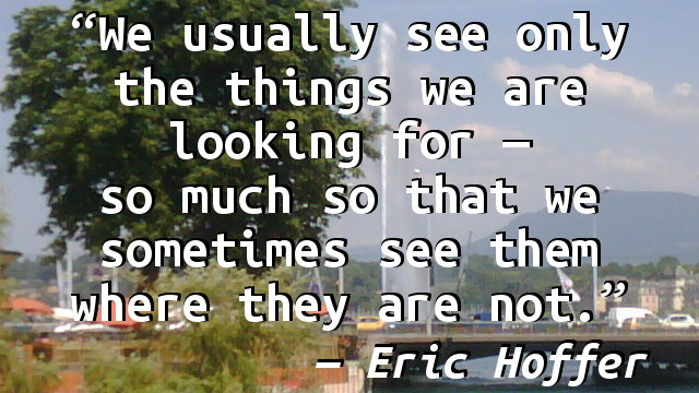We usually see only the things we are looking for — so much so that we sometimes see them where they are not.