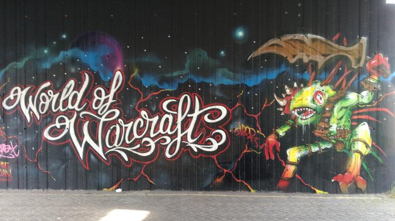 Street art, Amstel, Amsterdam, Netherlands