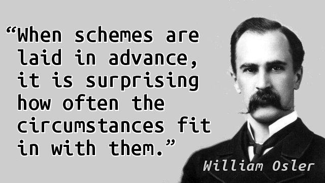 When schemes are laid in advance, it is surprising how often the circumstances fit in with them.
