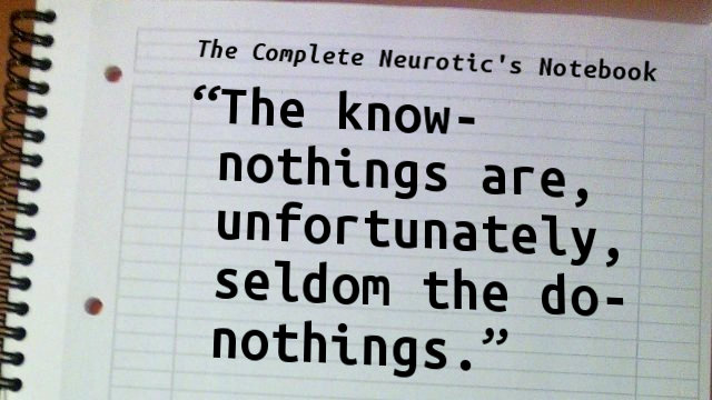 The know-nothings are, unfortunately, seldom the do-nothings.