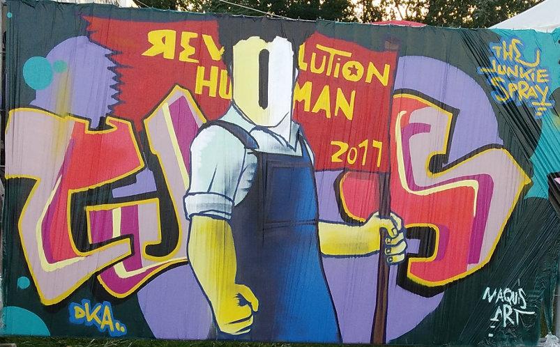 Human Revolution, from the DKA crew, Fête de l'Humanité 2017, Parc départemental Georges-Valbon, La Courneuve, France