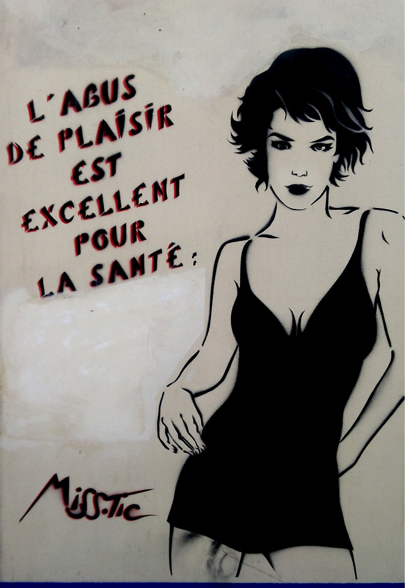 Street art by Miss.Tic - 'The abuse of pleasure is excellent for your health.' - 16 Rue Faidherbe, Paris