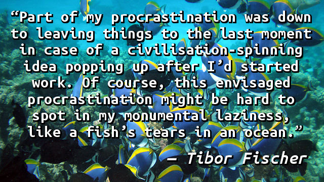 Part of my procrastination was down to leaving things to the last moment in case of a civilisation-spinning idea popping up after I'd started work. Of course, this envisaged procrastination might be hard to spot in my monumental laziness, like a fish's tears in an ocean.