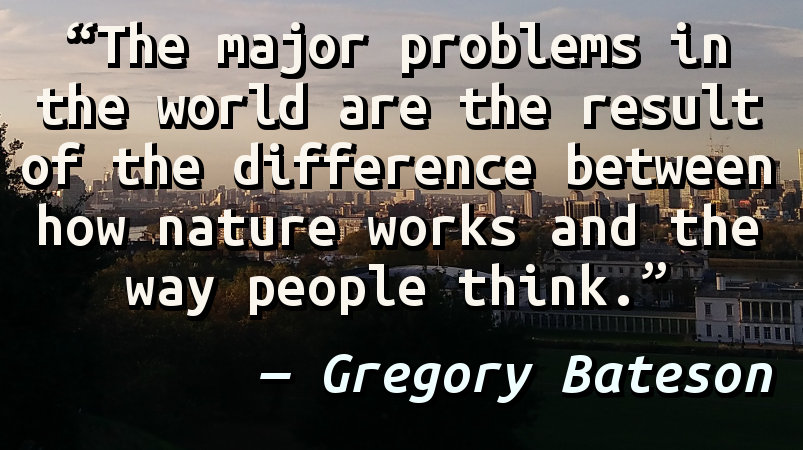 The major problems in the world are the result of the difference between how nature works and the way people think.