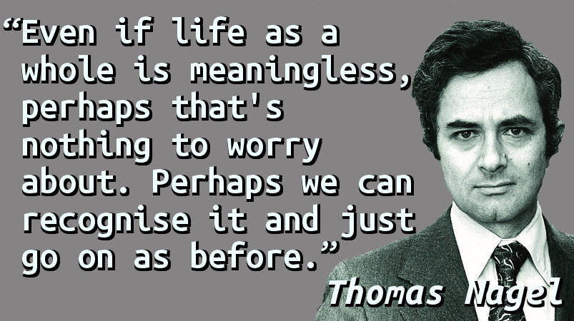 Even if life as a whole is meaningless, perhaps that's nothing to worry about. Perhaps we can recognise it and just go on as before.