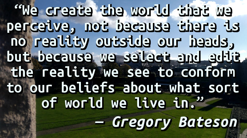We create the world that we perceive, not because there is no reality outside our heads, but because we select and edit the reality we see to conform to our beliefs about what sort of world we live in.