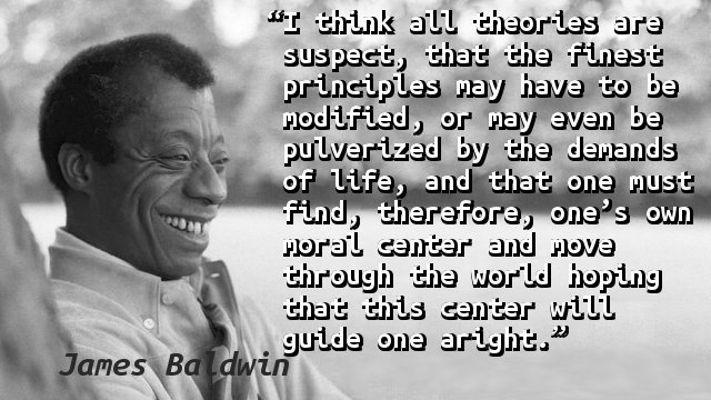 I think all theories are suspect, that the finest principles may have to be modified, or may even be pulverized by the demands of life, and that one must find, therefore, one's own moral center and move through the world hoping that this center will guide one aright.