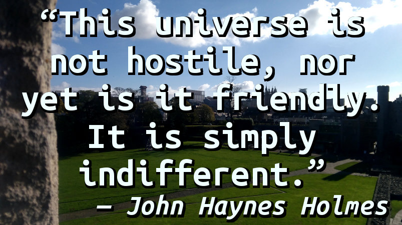 This universe is not hostile, nor yet is it friendly. It is simply indifferent.