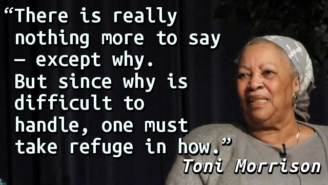 There is really nothing more to say — except why. But since why is difficult to handle, one must take refuge in how.