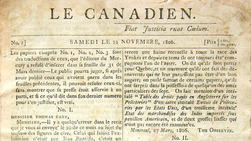 Front page of Le Canadien, November 22, 1806, vol. 1, no 1.
