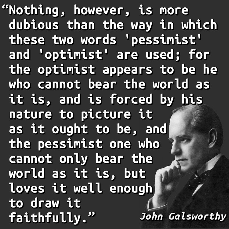 Nothing, however, is more dubious than the way in which these two words 'pessimist' and 'optimist' are used; for the optimist appears to be he who cannot bear the world as it is, and is forced by his nature to picture it as it ought to be, and the pessimist one who cannot only bear the world as it is, but loves it well enough to draw it faithfully.