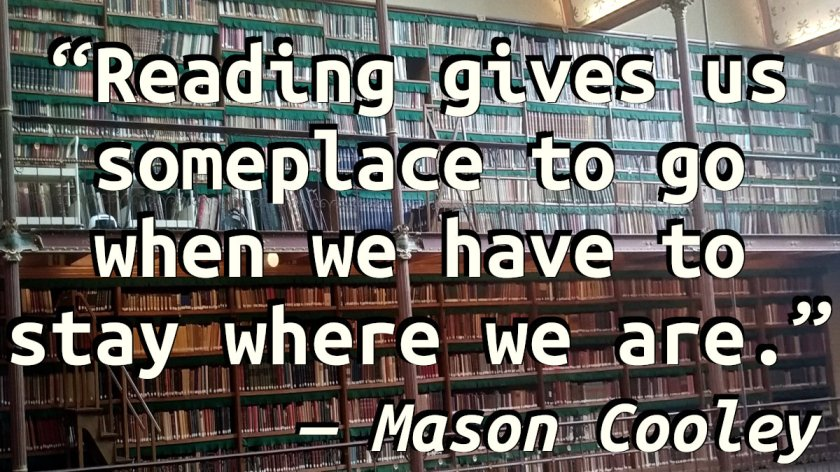Quote on a picture of a wall of books in the Cuypers Library of the Rijksmuseum, Amsterdam.
