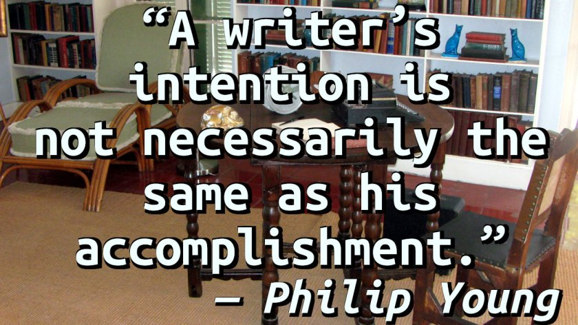 Quote on a picture of Hemingway's writing desk.