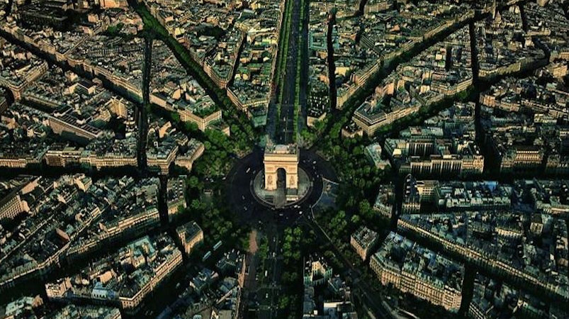 Aerial photo of the Place Charles de Gaulle, Paris, France