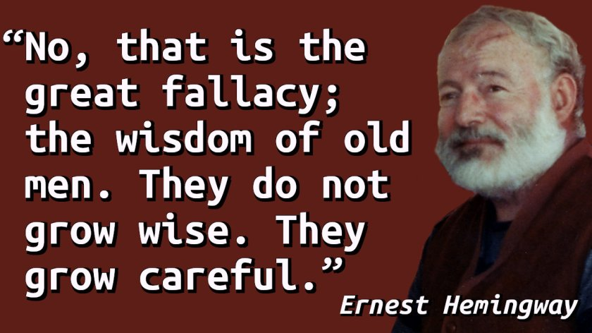 Quote with a picture of Ernest Hemingway.