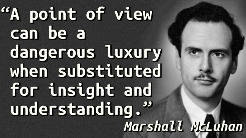 Quote with a picture of Marshall McLuhan.