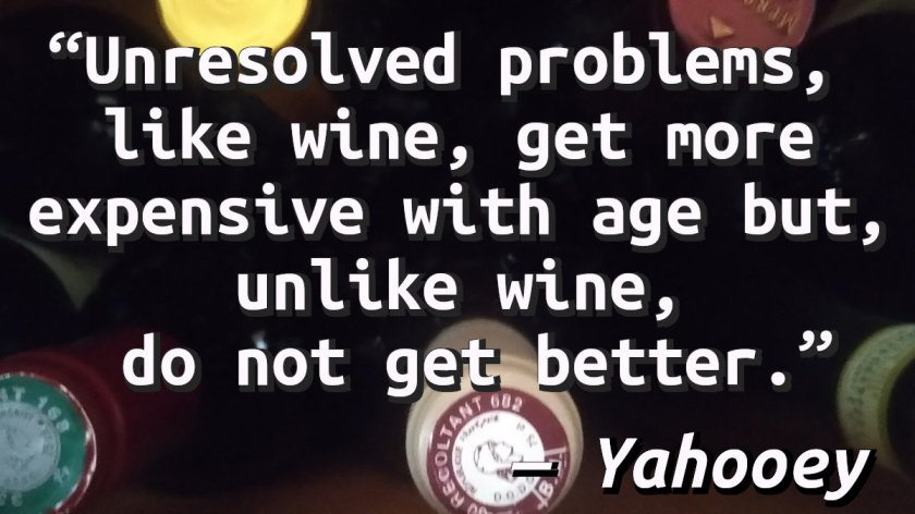 Quote on a picture of a bottles of wine.